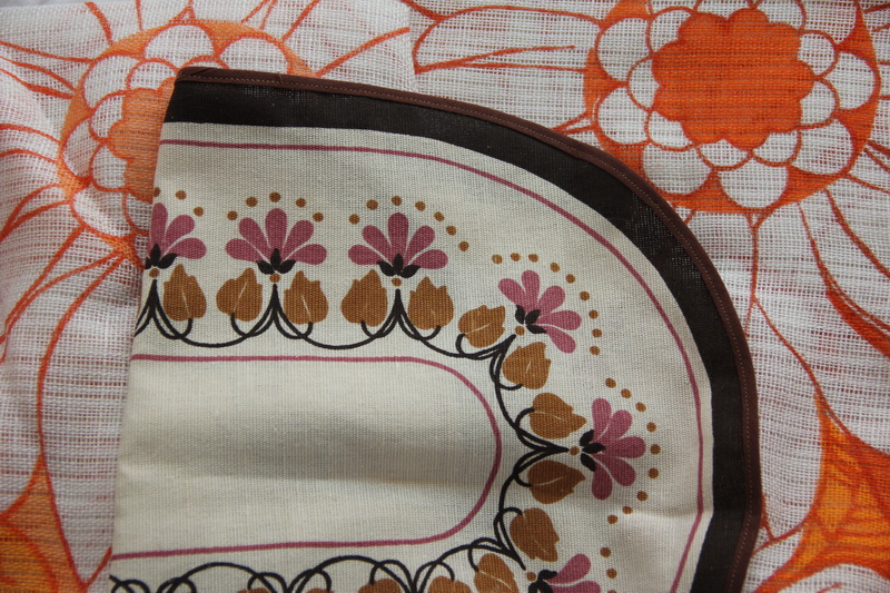 A printed table runner.
