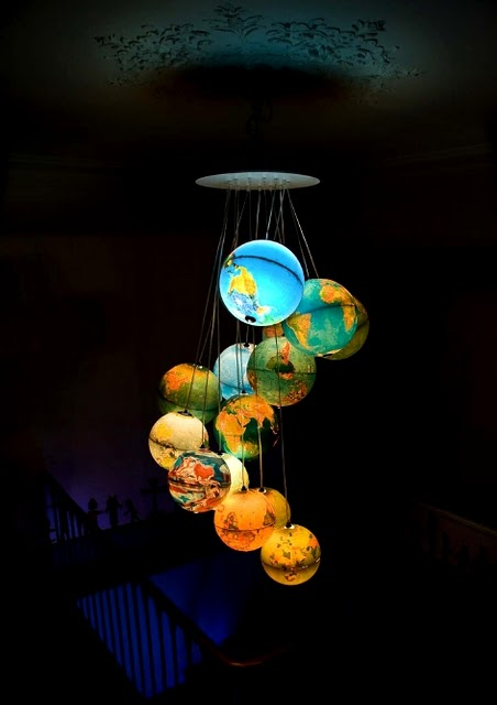 "Lamp made out of 15 old globes, by Benoit Vieubled, called ""Monde à l'endroit, Monde à l'envers"""