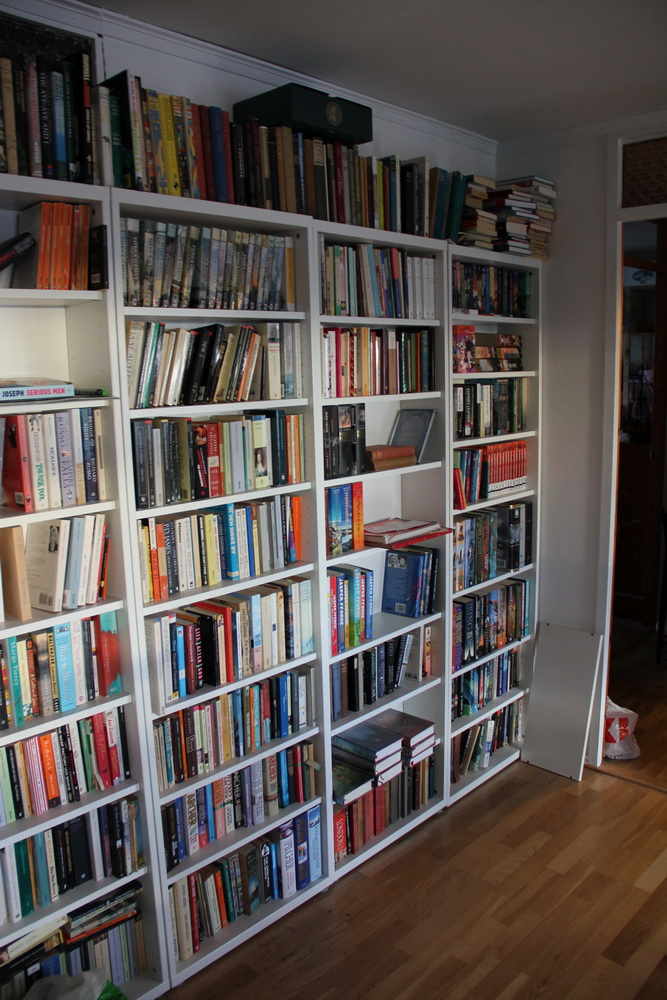 Sci-fi on the right, novels on the left, poetry in the top middle.
