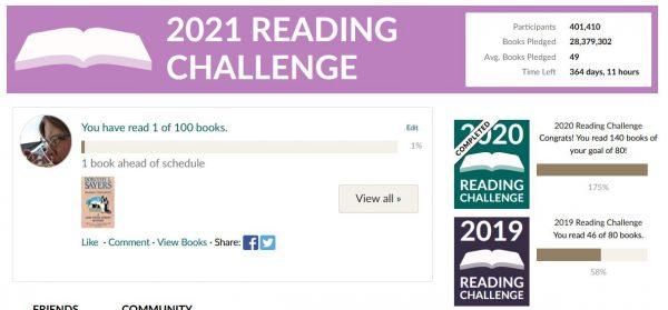 Skjermdump fra Goodreads med 2021 Reading challenge mål på 100 bøker.