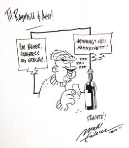 """Instruksen til tegneren: """"Noe med whisky"""""""