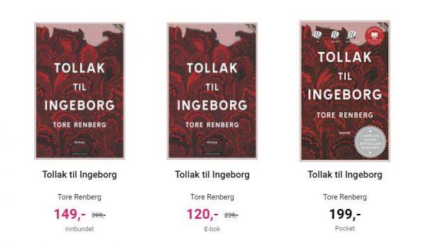 Skjermdump fra Norli, tre versjoner av Tollak til Ingeborg. Hardcover er på tilbud til 149,- ebok er på tilbud til 120,- mens pocket koster 199,-