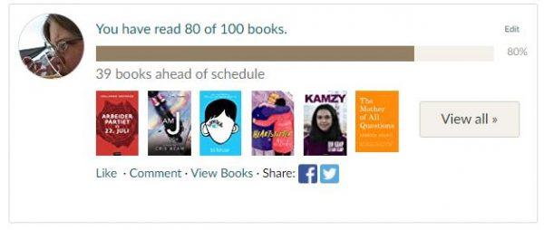 Skjermdump fra Goodreads som sier at jeg har lest 80 av 100 bøker og derfor ligger foran skjemaet med 38 bøker i årets utfordring.